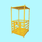 Man Riding Access Cage Basket